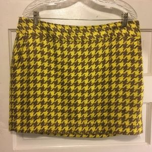 The Limited Skirt Sz 14 Yellow/Brown Houndstooth